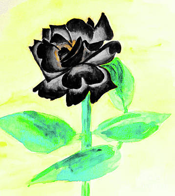 Painting - Black Rose, Painting by Irina Afonskaya