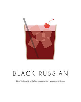 Cocktails Mixed Media - Black Russian Classic Cocktail - Minimalist Print by Studio Grafiikka