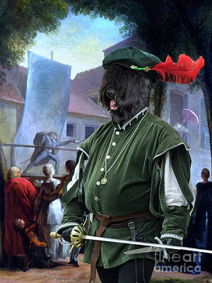 Painting - Black Russian Terrier Art Canvas Print  -a Fencer Street Show In Paris by Sandra Sij
