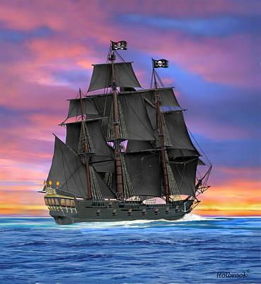 Digital Art - Black Sails Of The Caribbean by Glenn Holbrook