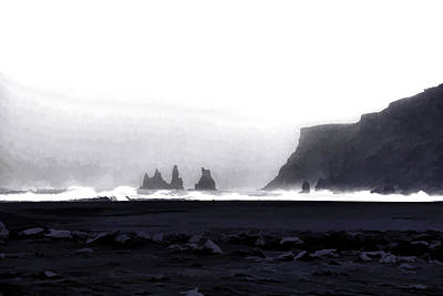 Digital Art - Black Sand Beach Of Vik by Allen Beatty