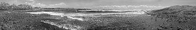 Photograph - Black Sand Beach Pano B W by Peter J Sucy