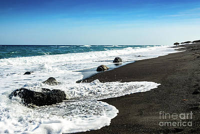 Photograph - Black Sand Beach, Perissa Beach, Santorini, Greece by Global Light Photography - Nicole Leffer