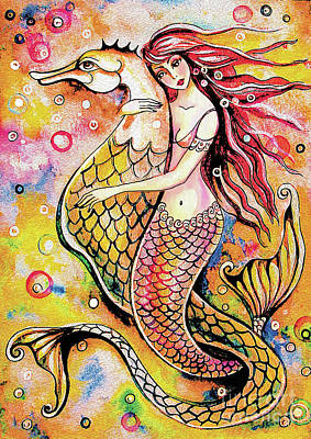 Painting - Black Sea Mermaid by Eva Campbell