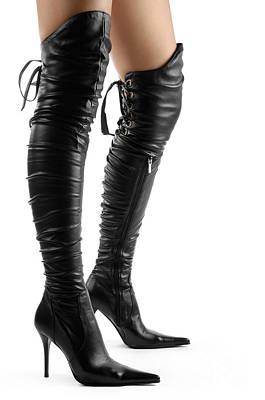 Black Sexy Thigh High Stiletto Boots Art Print by Oleksiy Maksymenko