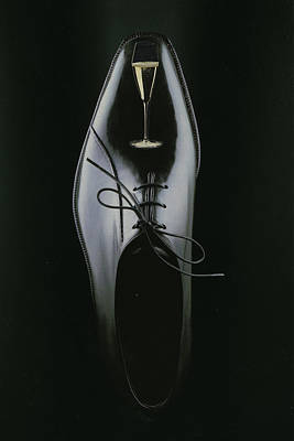 Formal Mixed Media - Black Shoe by Francine Gourguechon
