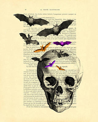 Halloween Digital Art - Black Skull And Bats On A Dictionary Page by Madame Memento