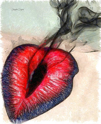 Girlfriend Digital Art - Black Smoke  - Pencil Style -  - Da by Leonardo Digenio