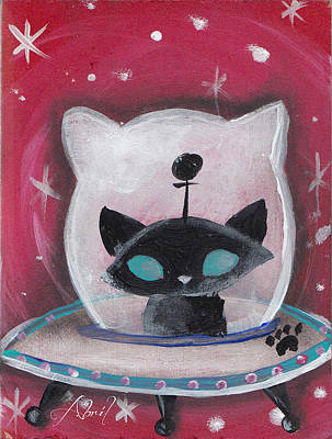 Pop Surrealism Painting - Black Space Cat by Abril Andrade Griffith