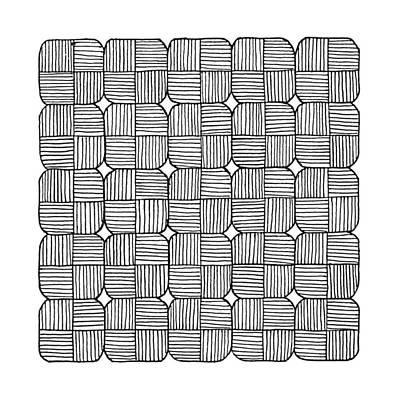 Minimal Drawing - Black Squares Mosaic by Konstantin Sevostyanov