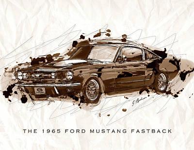 Black Stallion 1965 Ford Mustang Fastback #2 Art Print