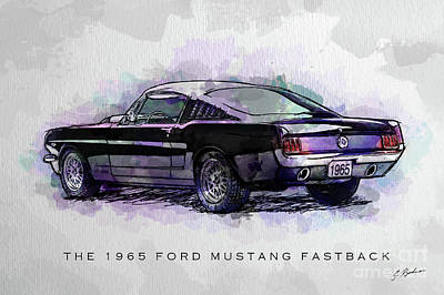 Ford Digital Art - Black Stallion 1965 Ford Mustang Fastback by Gary Bodnar