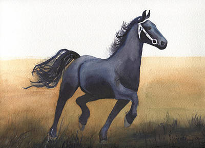 Black Stallion Art Print by Kathy Nesseth