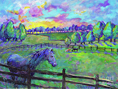 Brilliant Sky Painting - Black Stallion Sunset by Peggy Johnson
