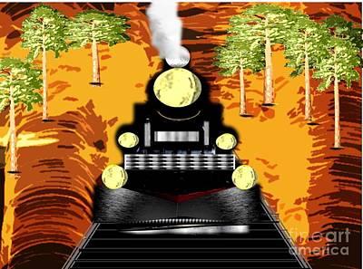 Drawing - Black Steel Train by Belinda Threeths