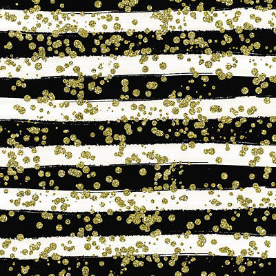 Digital Art - Black Stripes Gold Confetti by Ps