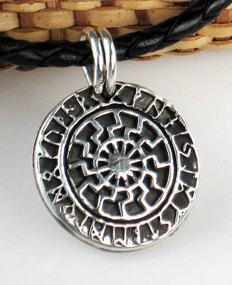 Jewelry - Black Sun Sterling Silver Pendant by Vagabond Folk Art - Virginia Vivier