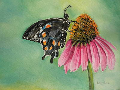 Painting - Black Swallowtail  by Betty-Anne McDonald