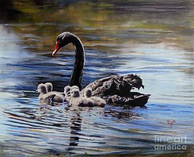 Painting - Black Swan And Cygnets No 1 by Ryn Shell
