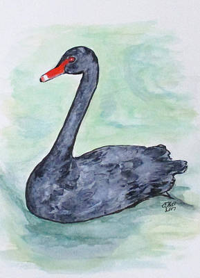 Painting - Black Swan by Clyde J Kell