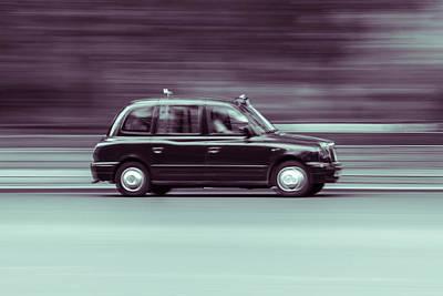 Black Taxi Bw Blur Art Print