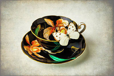 Black Tea Cup And White Butterfly Print by Garry Gay