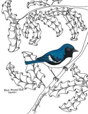 Warbler Mixed Media - Black-throated Blue Warbler by Sarah Rupert