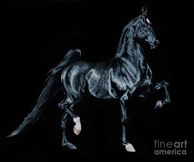 Painting - Black Tie Affair Featuring Saddlebred Champion Undulata's Made In Heaven by Cheryl Poland