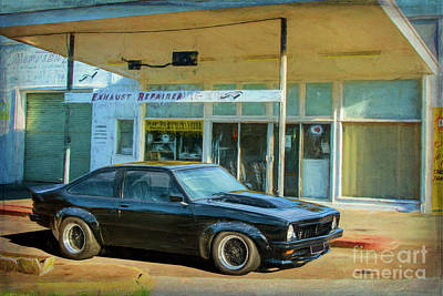 Digital Art - Black Torana Ss Hatchback At Cootamundra Auto Port by Stuart Row