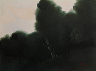 Painting - Black Trees by Attila Meszlenyi