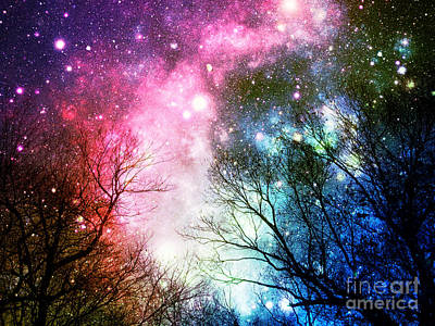 Black Trees Colorful Space Art Print by Johari Smith