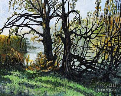 Countryside Painting - Black Trees Entanglement by Suzann's Art