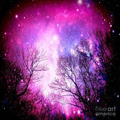 Black Trees Pink Space Art Print by Johari Smith