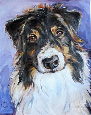 Herding Dog Painting - Black Tri Australian Shepherd by Maria's Watercolor