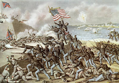 Massachusetts Painting - Black Troops Of The Fifty Fourth Massachusetts Regiment During The Assault Of Fort Wagner by American School