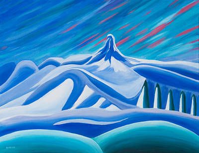 Winter Abstract Painting - Black Tusk Whistler by Ginevre Smith