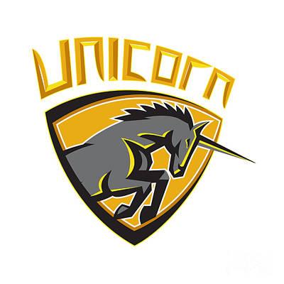 Black Unicorn Horse Head Charging Crest Retro Art Print by Aloysius Patrimonio