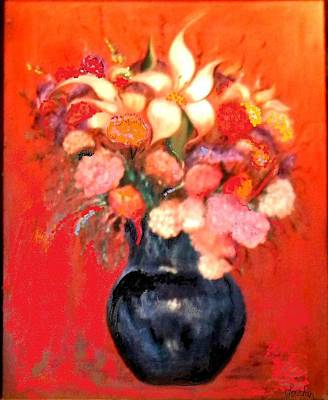 Painting - Black Vase Floral by Jordan