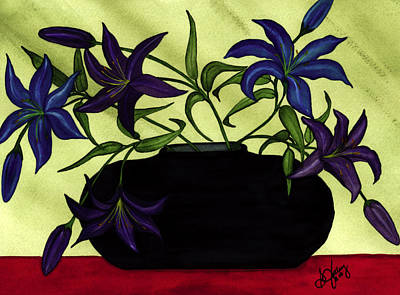 Black Vase With Lilies Art Print by Stephanie  Jolley