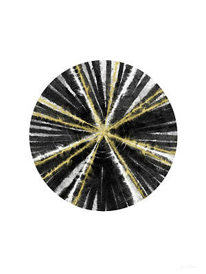 Scandinavian Painting - Black, White And Gold Ball- Art By Linda Woods by Linda Woods