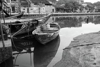 Black White Boats Hoi An Art Print