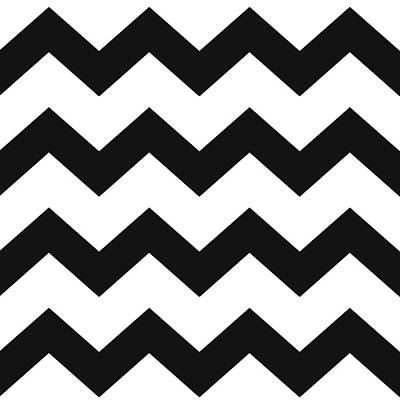 Chevron Mixed Media - Black White Geometric Pattern by Christina Rollo