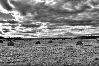 Art Print featuring the photograph Black-white Hay Day by Gary Smith