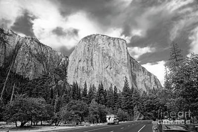 Photograph - Black White On The Road Yosemite Scenic El Capitan  by Chuck Kuhn