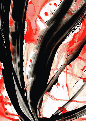 Drippy Painting - Black White Red Art - Tango 2 - Sharon Cummings by Sharon Cummings