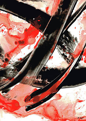 Drippy Painting - Black White Red Art - Tango - Sharon Cummings by Sharon Cummings