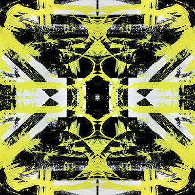 Mixed Media - Black White Yellow Pattern by Christina Rollo