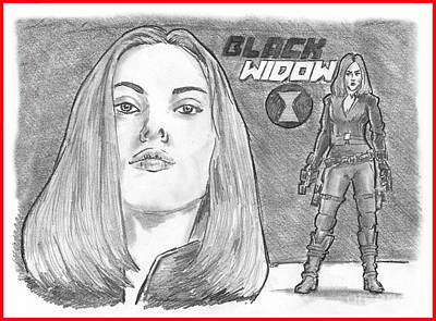 Drawing - Black Widow by Chris  DelVecchio