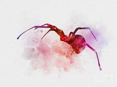 Spider Mixed Media - Black Widow Spider by Rebecca Jenkins