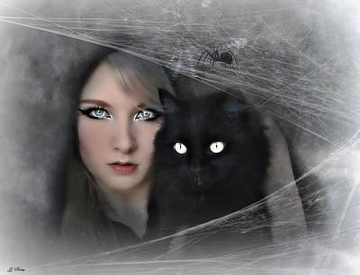 Black Witch Cat Art Print